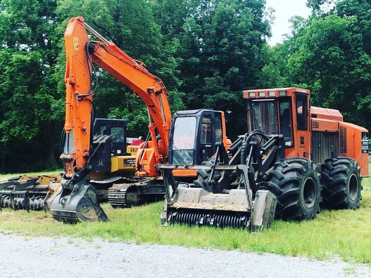image of excavator and mulching machines for Midstate Land Clearing and Forestry Mulching LLC