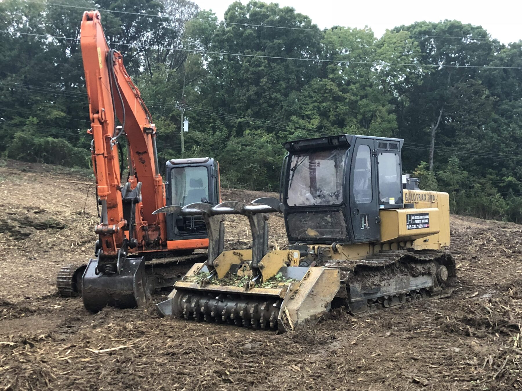 image of mulching machine and excavator for Midstate Land Clearing and Forestry Mulching LLC
